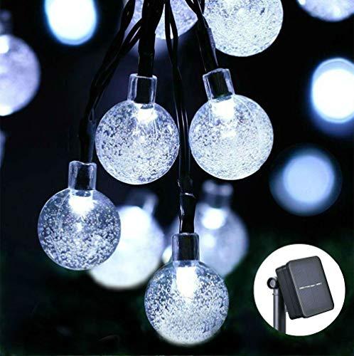 Qedertek Solar Lichterkette Außen mit 30 LED Kugel Weiß 6m 8 Modi Weihnachtsbeleuchtung für Weihnachten, Garten, Terrasse, Hof, Haus, Party