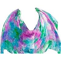 YI NA SHENG WU velo de seda de la danza del vientre auténtico velo de seda accesorios de la danza del vientre Colores mezclados (250 X 114 cm)