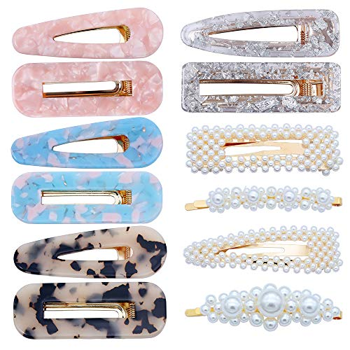 12 pezzi Fermagli per capelli perni di perle in resina acrilica perni per ragazze Clip di perle geometriche per donne Barrettes Accessori per capelli
