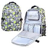 Damero Wasserdichte Reisetasche Wickeltasche Rucksack mit Wickelunterlage und Metallschleifen für Kinderwagen Haken (Grau und Grün Punkt)