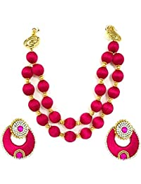 Festival Offer: Floret Jewellery Traditional Fancy Pink Silk Thread Necklace Set With Chandbali Earrings For Women...