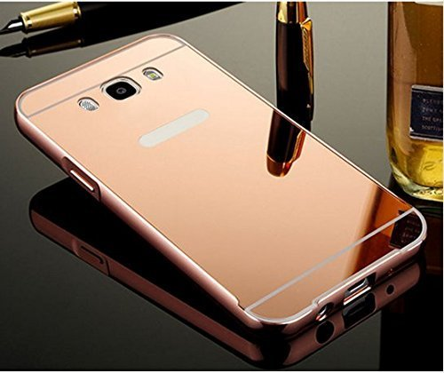 KPH Luxury Mirror Effect Acrylic back + Metal Bumper Case Cover for SAMSUNG GALAXY J5 - (New 2016 Edition) Rose Gold