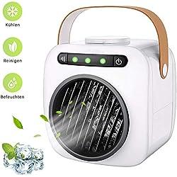 CRZJ Refroidisseur d'air Portable USB Ventilateur, Humidificateur d'air climatisé Mobile 3 en 1, purificateur d'air, Ventilateur à 3 Vitesses et Chargement par USB