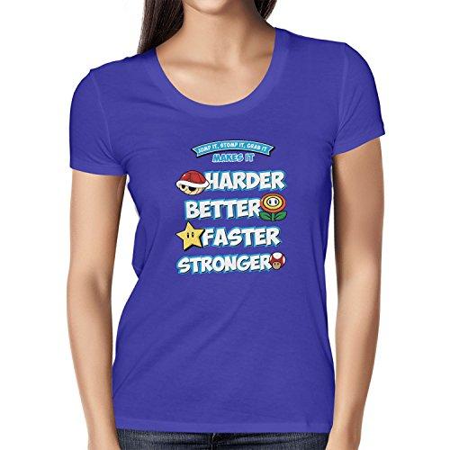 NERDO - Harder Better Faster Stronger - Damen T-Shirt, Größe XL, marine (Marine-konsolen)