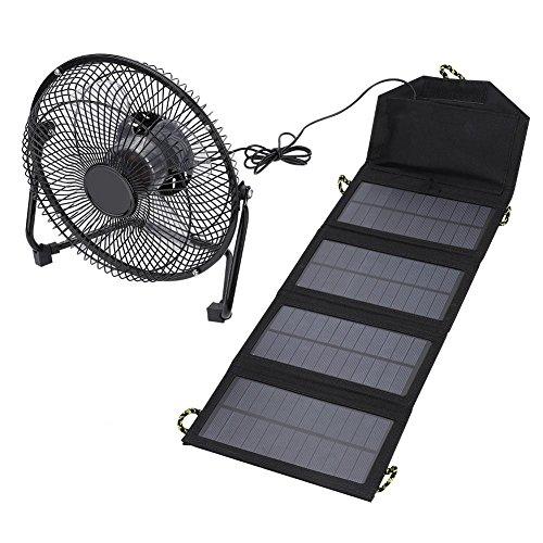 Caracteristicas:  El ventilador puede usar corriente alterna en la habitación, los paquetes de carga solar pueden usarse al aire libre.Los paneles solares de 7W pueden cargar teléfonos móviles, energía móvil y otros productos digitales.Amplia área de...