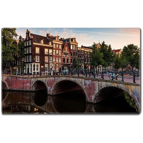 Biciclette Ponti Europa Amsterdam Città Tovagliette Personalizzate in a supporto per pronto all' uso 24pollici (610mm) X 1415/16