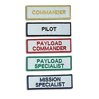 NASA Space Shuttle Astronaut Patch Set Pilot, Commander, Mission Specialist, Specialist, Zuladung commander- weiß