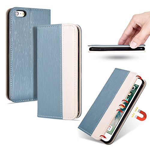 Honggxd per iphone 6 plus/iphone 6s plus lusso bicolore strutturato trama adsorbimento vibrazione pu custodia in pelle con slot per schede e cantiere (colore : sky blue)
