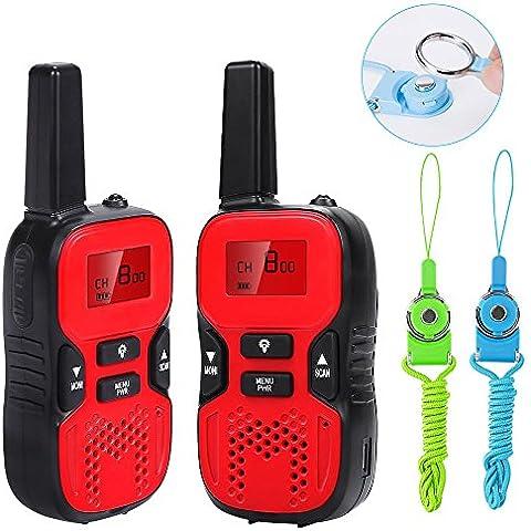 Waitiee durable niños walkie talkies 2 Mile handheld portable 2 Way Radio para niños de juguete de la Navidad al aire libre camping senderismo (1 par) (RED)