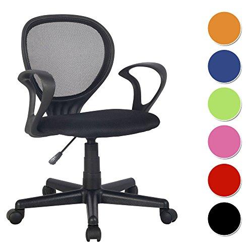 SixBros. Bürostuhl Drehstuhl Schreibtischstuhl Schwarz - H-2408F/2058