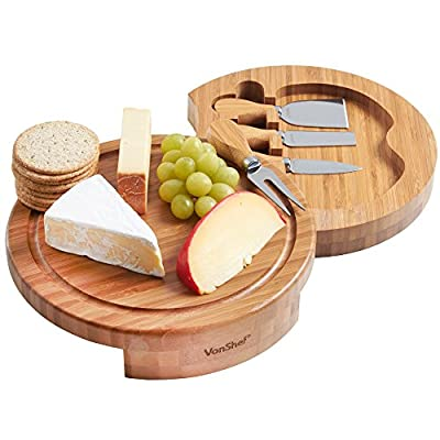 VonShef Round Slide Out Bamboo Cheese Board and 4 Piece Specialist Knife Set - Free 2 Year Warranty