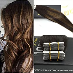 Sunny Balayage Tape in Extensiones Adhesivas 14 Pulgadas Marron Oscuro con Rubio Pelo Tape in Recto Humano Naturel 50g