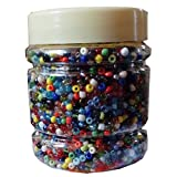 #5: eshoppee mix multicolored color 8/0 glass beads, seed beads pot 200 gm (approx 6000 beads) for jewellery, art and craft making diy project kit (multicolor)