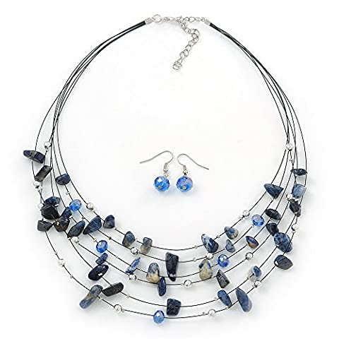 Blue/White Semiprecious Stone & Silver Metal Bead Multistrand Necklace &