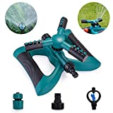 Sprinkler da Giardino, Irrigatore per Giardino - Spruzzatore da Giardino con Rotazione a 360 °, Spruzzatore a 3 Bracci con Braccio e 2 Diverse modalità di Ugello(Verde)