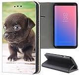 Samsung Galaxy S5 / S5 Neo Hülle Premium Smart Einseitig Flipcover Hülle Samsung S5 Neo Flip Case Handyhülle Samsung S5 Motiv (1604 Chihuahua Welpe Hund Dunkelbraun)