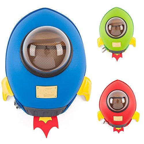 CKB Ltd® BLUE SPACE ROCKET Blu Razzo Astronave Kids Bag Zaino bambini Kindergarten Zaini del fumetto animale sveglio Zaini | Zaino Colourful Fun Zaino per bambine e bambini | Premium 3D design | durevole | impermeabile | PER tutte le età con spallacci imbottiti regolabili