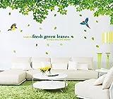 YueLian Sofa Hintergrund Dekorative Aufkleber Grün Blätter Wohnzimmer Wanddeko Wandsticker Wandtattoo(Grün Blätter)