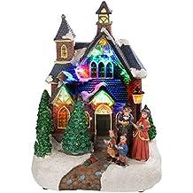 WeRChristmas - Figura decorativa de escena de cantantes de villancicos con iluminación led de colores (