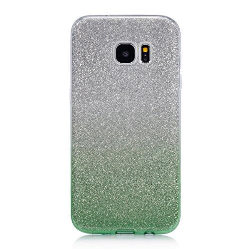 FESELE Samsung Galaxy S8 Coque Samsung Galaxy S8 Brillant Bling Bling Sparkle 3 en 1 Flex Soft Tpu Couverture Etui Housse de protection Étui en Silicone pour Samsung Galaxy S8 Ultra Mince Scintillant  vert