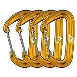 Moschettone a clip da 1223,66 kg con molla di bloccaggio in alluminio, gancio portachiavi a forma di D per amaca all'aperto, campeggio, escursionismo, pesca, ognuno supporta 181,4kg, SET OF 4