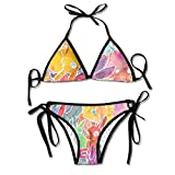 WASAENGY Women's Tie Side Bottom Triangle Bikini Swimsuits Badeanzüge for Rabbit Bunny Invasion Flower Print