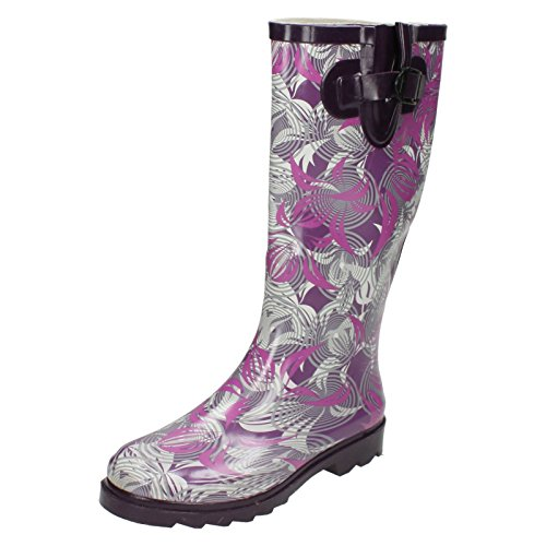Ladies Spot On Leaf Print Wellington Boots X1163