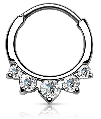 Piercing Boutique Piercing für die Nasenscheidewand, Edelstahl, mit 5 runden Steinen, 16G (1,2mm), Transparent, 1Stück