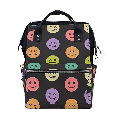 bennigiry Emoji-Stitch Patch Wickeltasche Rucksack groß Kapazität Reise Back Pack Wickeltaschen Organizer Multifunktions-Baby Staubbeutel für Mama (Produkte Patch Mama)
