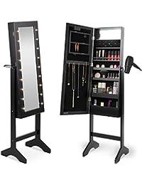Beautify Armoire à Bijoux et Maquillage sur pieds avec Miroir et éclairage LED – 36.5 x 51 x 145 cm…