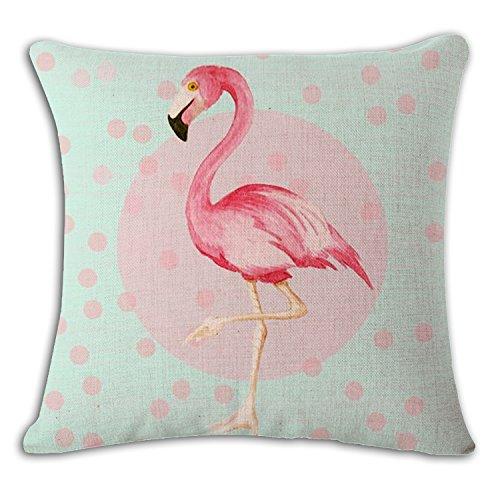Single Flamingo Printed Cotton Linen Decorative Throw Pillow Case Sofa Home Decor Cushion Cover (Pillow-top-single)