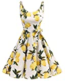bbonlinedress 1950er Vintage Polka Dots Pinup Retro Rockabilly Kleid Cocktailkleider Lemon M