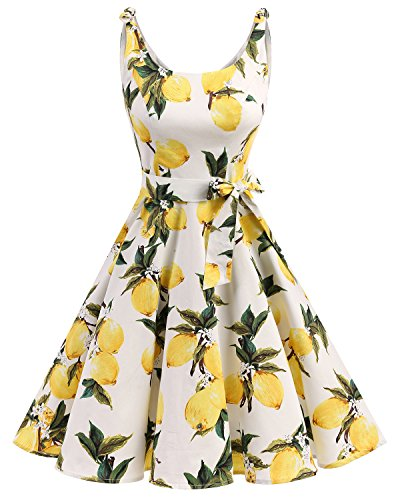 bbonlinedress 1950er Vintage Polka Dots Pinup Retro Rockabilly Kleid Cocktailkleider Lemon 2XL