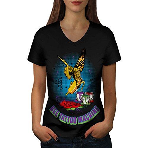 abeille-tatouage-machine-guepe-femme-nouveau-noir-l-t-shirt-wellcoda