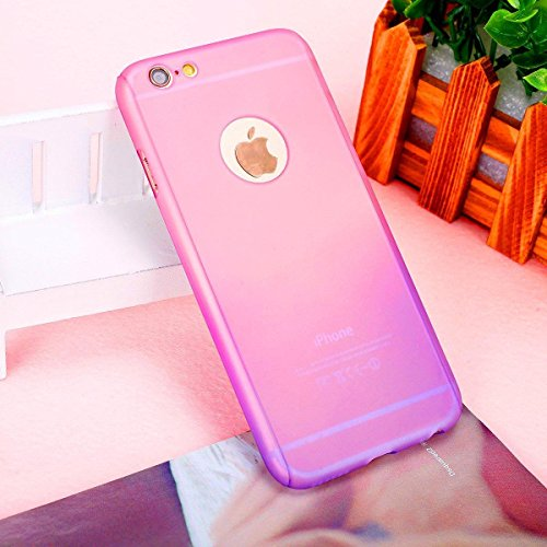 Coque iPhone 7, iPhone 8Coque, Yoota fin coloré Coque [protection d'écran en verre trempé] [] PC rigide Translucide anti-rayures Coque de protection intégrale 360 rose/violet