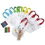 Comius Sacs à Main réutilisables, 12 Sac en Coton + 24 Crayons Textiles la Peinture Or Give Away, Idéal Les Cadeaux de Fête d'anniversaire, Les Communions
