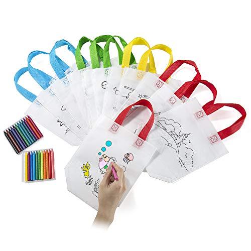 (Comius Lot von 12 Non-Woven-Tasche Zum Selber bemalen. Enthält Farbige Wachse Ideal für Geburtstagsfeier Geschenke, Kommunionen)