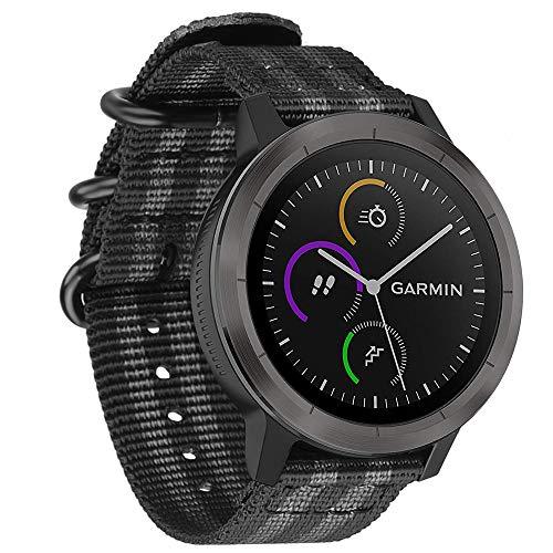 Fintie Armband für Garmin Vivoactive 3 / Garmin Vivoactive 3 Music/Forerunner 645 Music - Premium Nylon atmungsaktive Uhrenarmband verstellbares Ersatzband mit Edelstahlschnallen, Schwarz/Grau