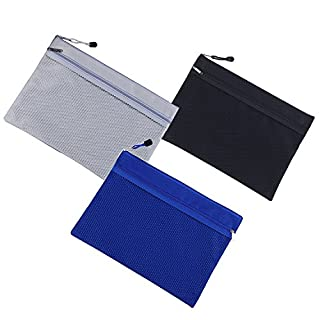 A4 Size Zipper File Bags Double Layers and zipper closure File Storage Office filing documents Storage Bags Students Files Mesh Storage Bags (Grey+Black+Blue)