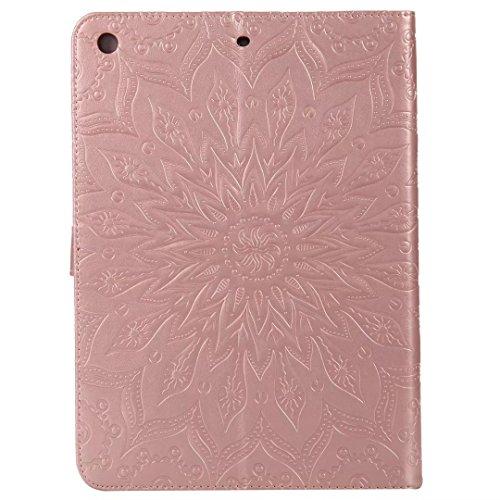 LEMORRY Apple iPad 9.7 (2017) Custodia Pelle Cuoio Portafoglio Borsa Sottile Bumper Protettivo Magnetico (con Porta Carte di CRossoito) Morbido Silicone TPU Flip Cover Tavoletta Custodia per Apple iPa Oro rosa