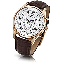 Kennett Savro Rose Gold Mens Watch with brown leather strap