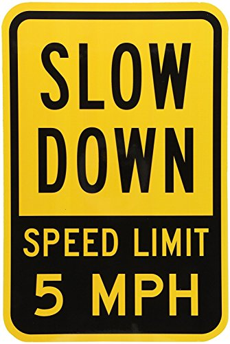 OneMtoss Schild Aluminum Sign, Two-Sided Aluminum Sign, Slow Down - Speed Limit 5 MPH, 18