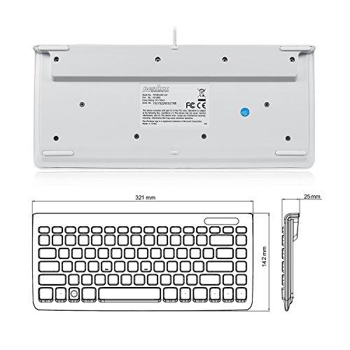 Perixx PERIBOARD-407W DE, Mini Tastatur - USB - 320x140x14mm Abmessung - Klavierlack Weiss - QWERTZ DE Layout - 4