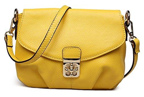Keshi Leder Niedlich Damen Handtaschen, Hobo-Bags, Schultertaschen, Beutel, Beuteltaschen, Trend-Bags, Velours, Veloursleder, Wildleder, Tasche Gelb