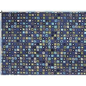 Walter Kern Polsterstoff Deko-Stoff Meterware Mombasa blau Trendiger Stoff im Retro-Look mit Mosaik-Muster 140 cm breit