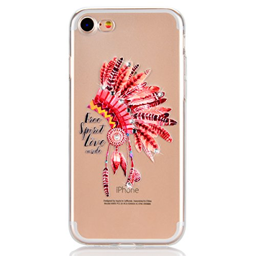 "Coque iPhone 7 Plus, Etui iPhone 7 Plus , Housse iPhone 7 Plus (5.5""), GrandEver Coque Silicone 3D Diamant Bling Sparkle Transparente Crystal Clair Back Case TPU Bumper Cover Plume Attrape Rêve Motif  Indien Chapeau"