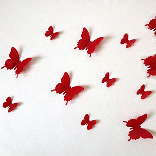 Demiawaking 12 Stücke 3D PVC Magnet Schmetterlinge Y Wandaufkleber Wohnkultur (Rot) (Wohnkultur)