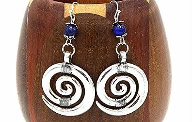 Boucles d'oreilles spirales lapis lazulis, clips d'oreilles spirales et perles de gemmes bleu