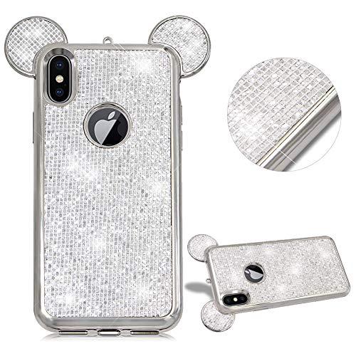 CESTOR Niedlich Zwei Ohren Handyhülle für iPhone 6 Plus/iPhone 6S Plus,Luxus Bling Glänzend Kristall Schutz Etui Anti-Kratzer Ultra Dünn Telefon-Kasten für iPhone 6 Plus/iPhone 6S Plus,Weiß (6-kristall-diamant-kasten Iphone)
