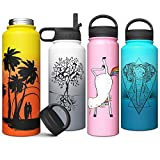 Stainless Steel Vacuum Insulated Water Bottle with Straw Lid Double Walled Wide Mouth